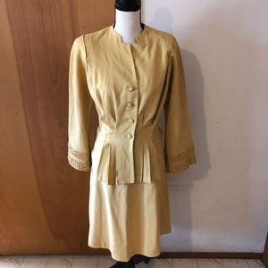 Vtg Mustard 50/60's Skirt Suit